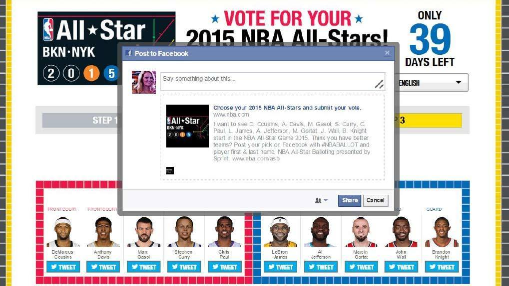 online site directing users how to vote for nba all star