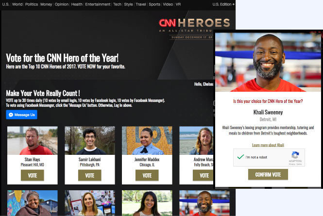CNN Hereos online voting page with nominees and inset mobile view of vote for a nominee