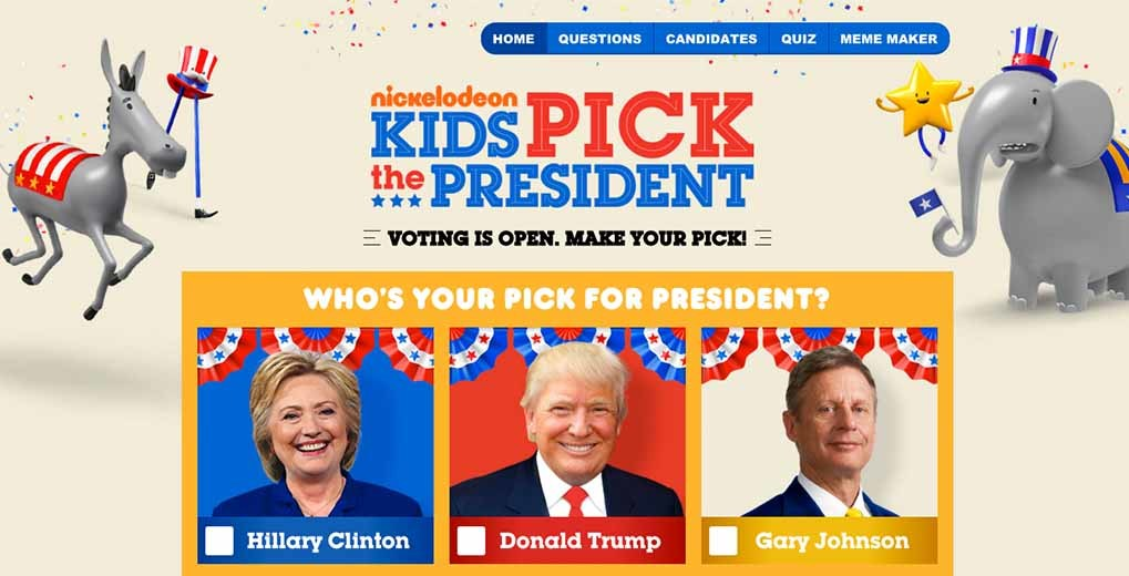 Kids Pick the President online voting page with Hillary Clinton, Donald Trump and Gary Johnson