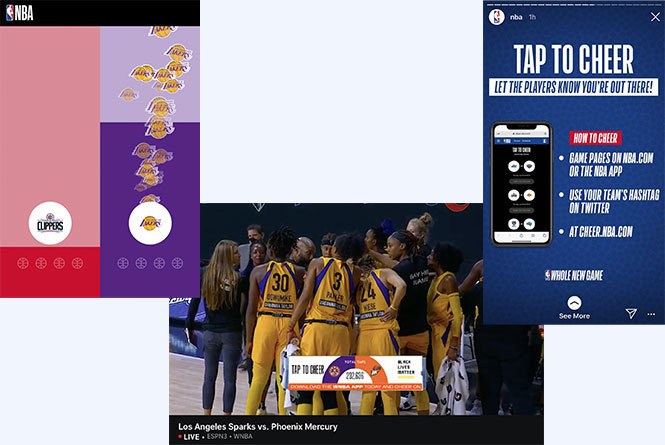NBA tap to cheer and WNBA Tap to cheer call out