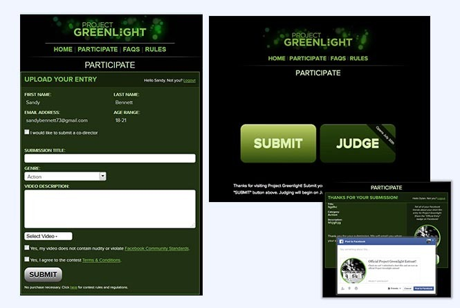 Project Greenlight contest entry form, participation page and FB share