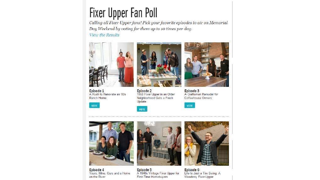 Fixer Upper Fan Vote