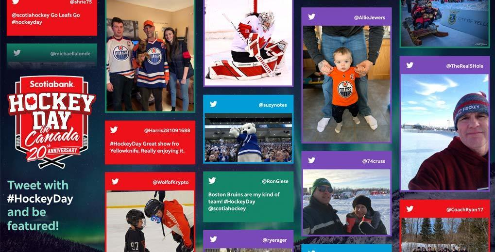 custom twitter wall with fan twitter content streaming down it with hashtag #HockeyDay encouraging people to tweet to be featured
