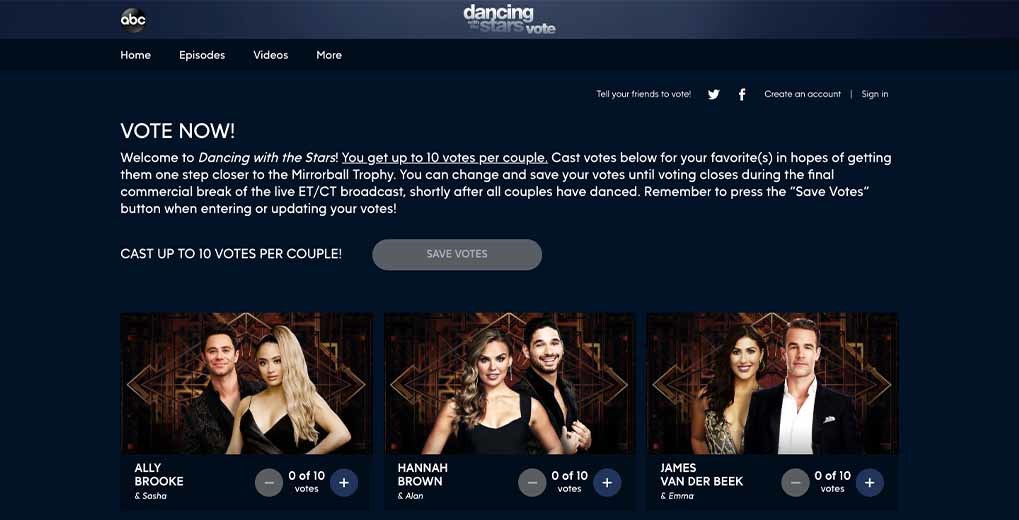 Dancing With The Stars online voting page