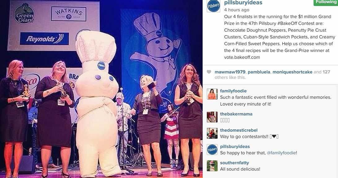 FB post of lifesized Pillsbury dough boy and women standing on stage