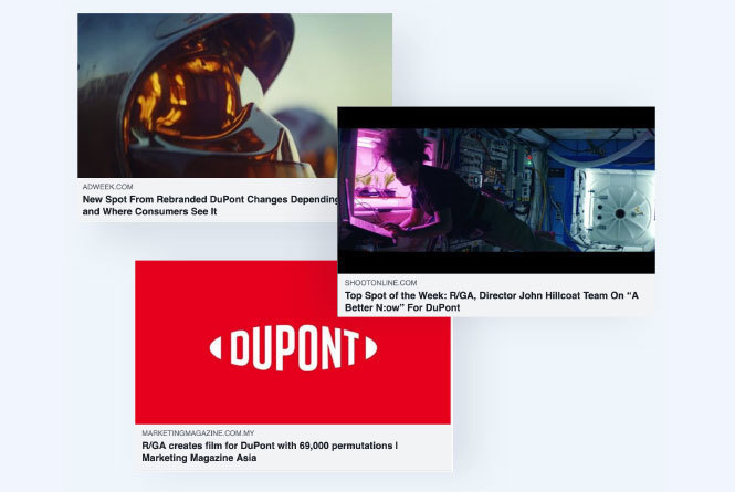 Online news articles about DuPont live commercial
