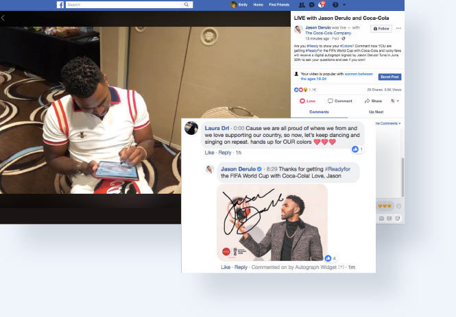 Jason Derulo answering questions live on Facebook and responding to comments with his autogrpahs
