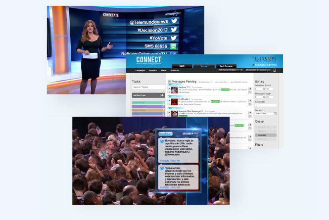 Images from broadcast of results to air, CONNECT platform powering the poll and results and comments via tweets to air