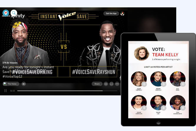Voice Save displayed on Tablet device with two male contestants up for vote