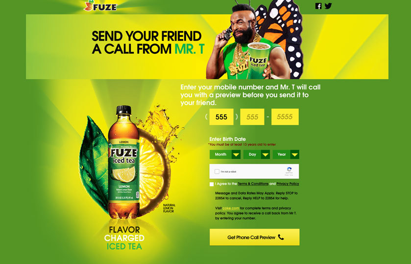 Get a call from Mr. T website where you could input your phone number to get a call from Mr. T