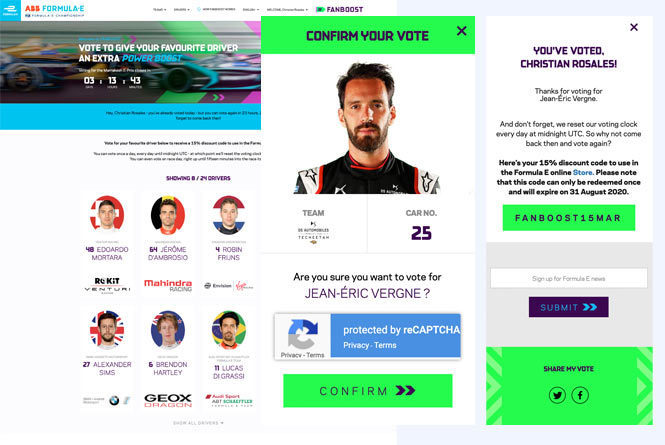 Vote landing page, pop up of selected driver and confirmation pop up that your vote has been cast.