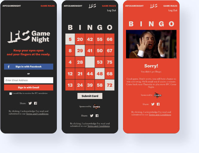IFC Game night bingo login, game card, and  results screen