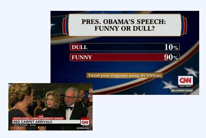 Broadcast showing poll results and red carpet interview