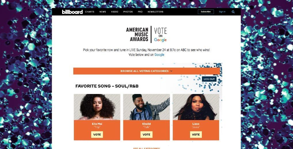 Online voting page
