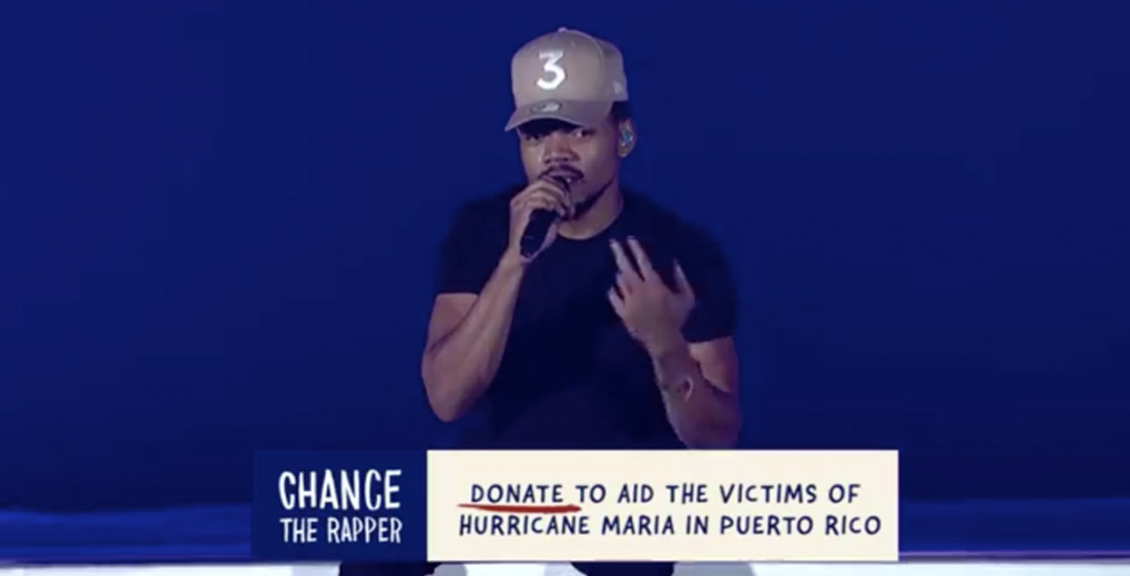 Chance the Rapper holding microphone with CTA graphic to donate