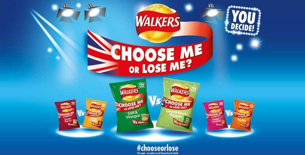 Choose Me or Lose Me Promotion art with hashtag call out.  You decide the next Walkers Crisp flavor