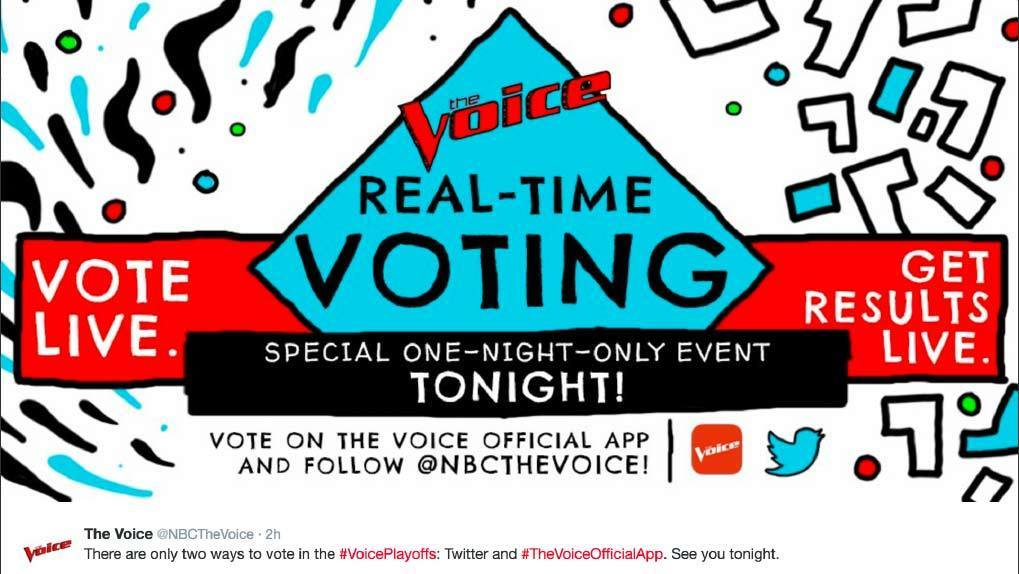 The Voice app promo and CTA