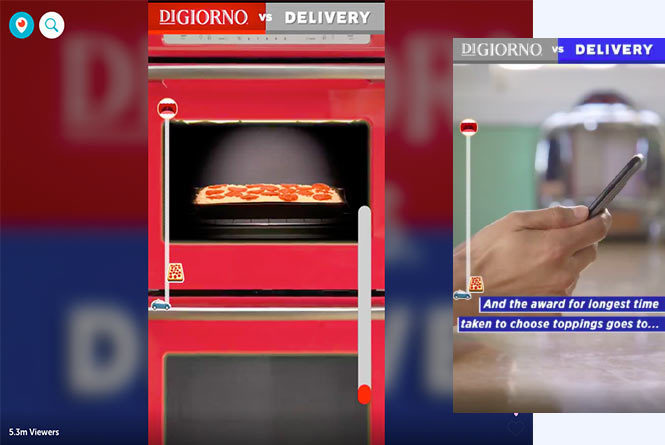 Pizza cooking in oven and hand holding phone