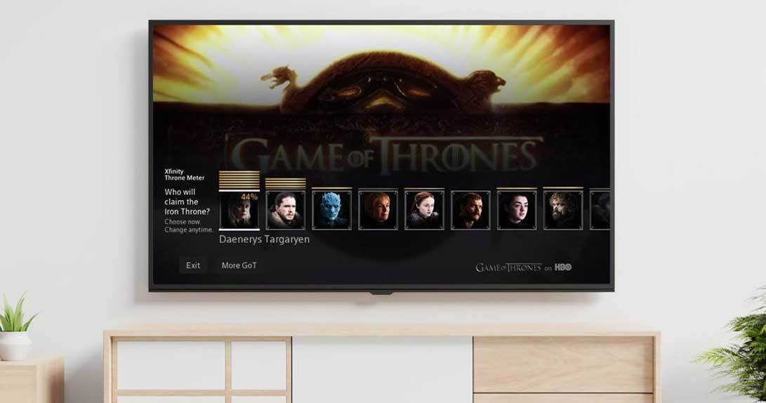 Game of Thrones Poll on TV hanging on wall