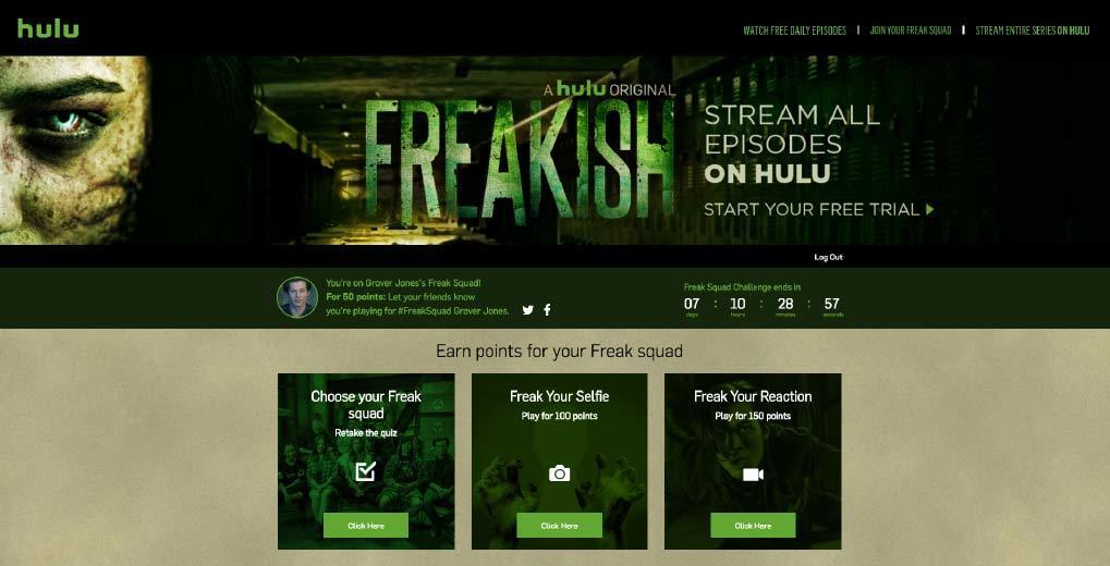 Freakish Play-along Hub landing page