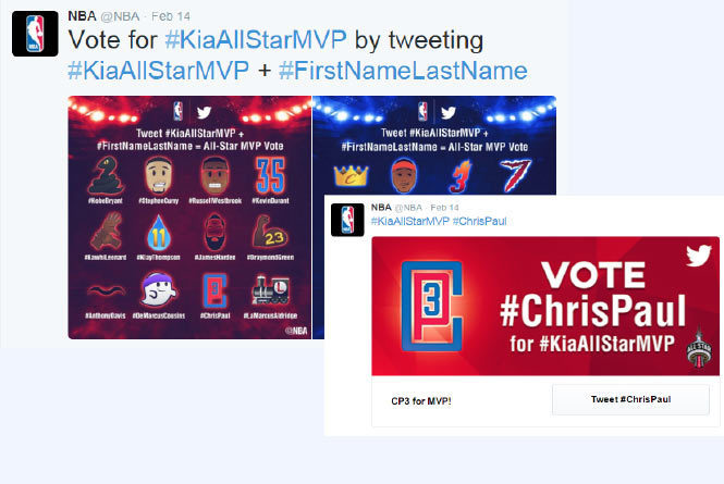 Twitter examples of All Star MVP vote and sweepstakes entry
