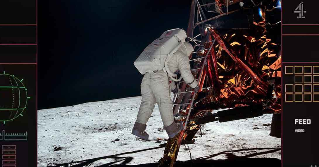 image of astronaut stepping down ladder to moon surface