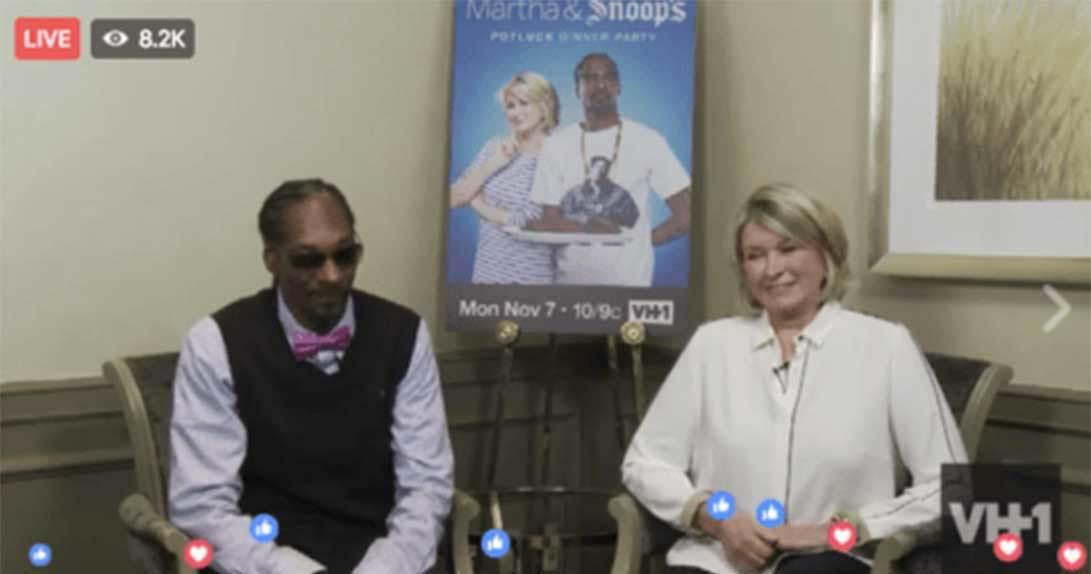 FB live stream screen shot of Snoop Dogg and Martha Stewart talking