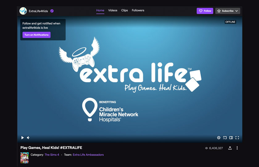 """Children Miracle Network """"extra life"""" play games heal kids twitch live stream"""