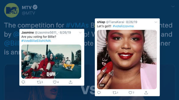 Tweets from fans voting for Billie Eilish and Lizzo at the VMAs
