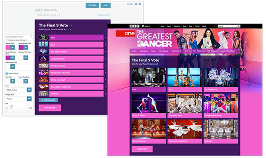 Sample layout of BBC using campaign manager for the audience to vote for their favorite dance act