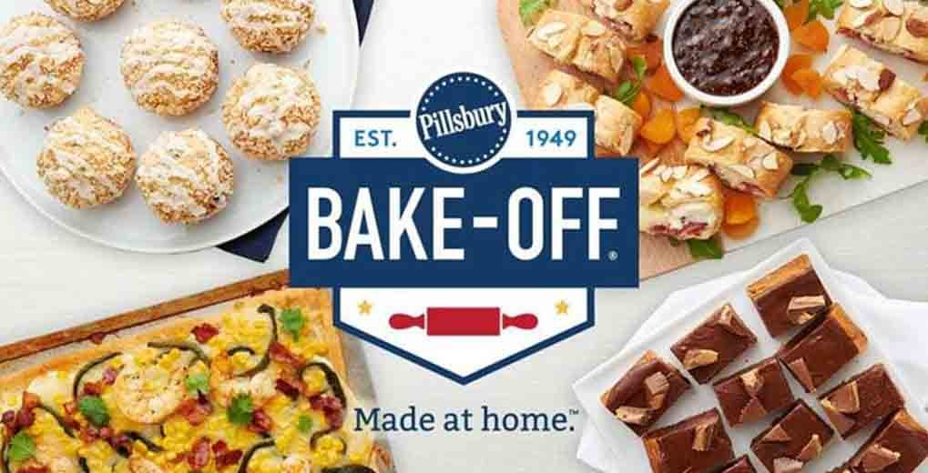 Bakeoff logo with different plates of baked goods