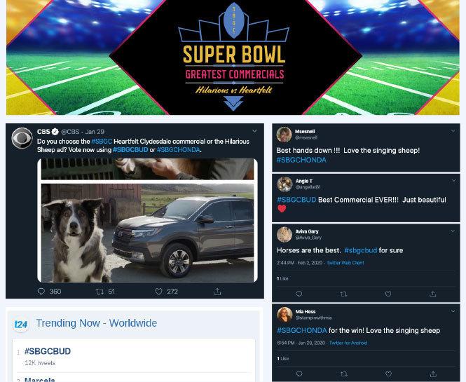 Super bowl Twitter hashtag vote