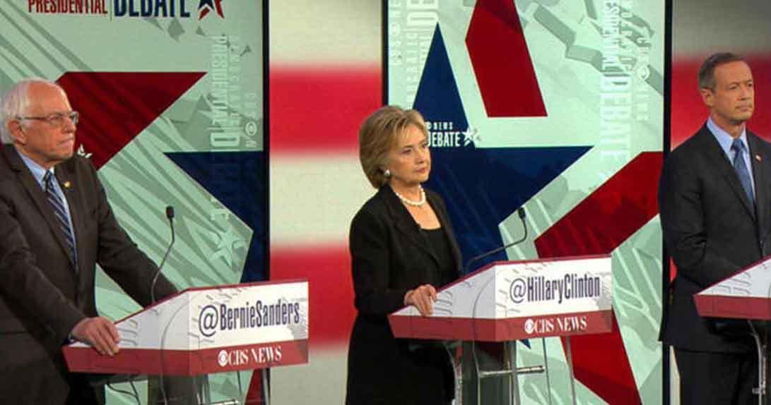 Democratic candidates debating onstage