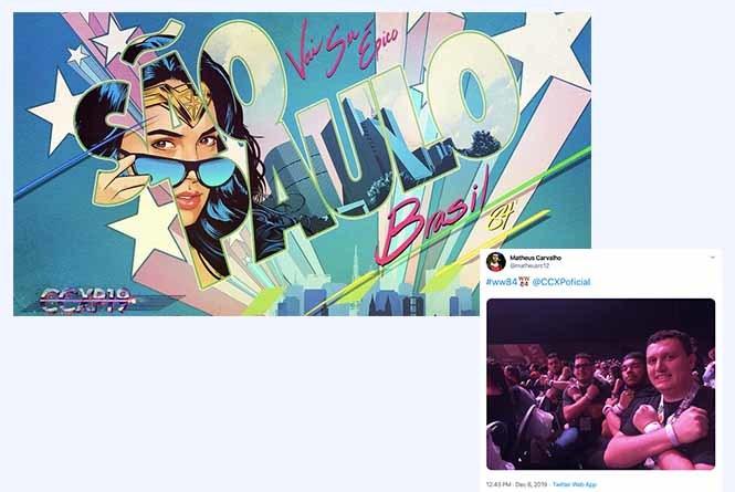 CCXP19 Wonder Woman poster and fan tweet image