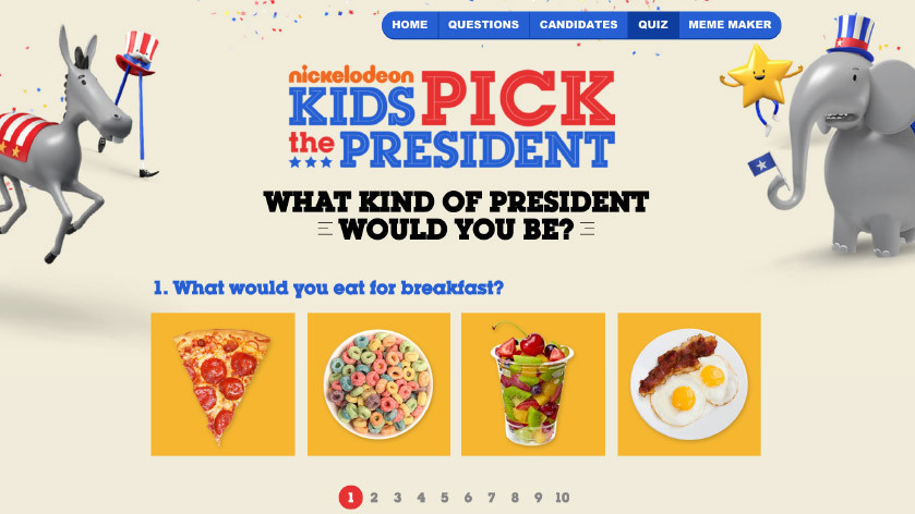 Kids pick the president inquizator with questions