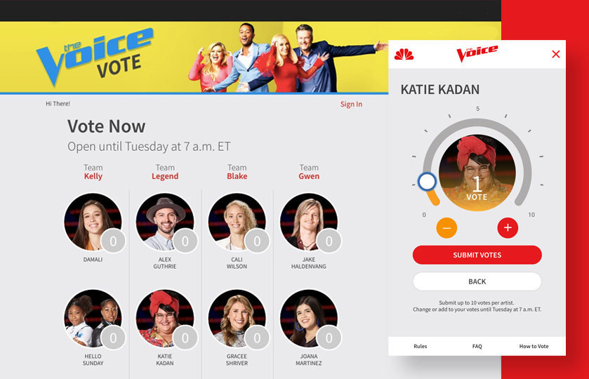 "NBC's ""The Voice"" online voting landing page and screen shot of mobile phone voting for a particular contestant with option to assign multiple votes"