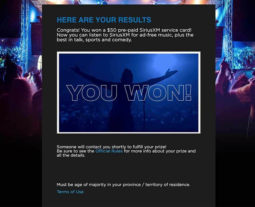 Sirius XM online sweepstake experience with a winning scratcher