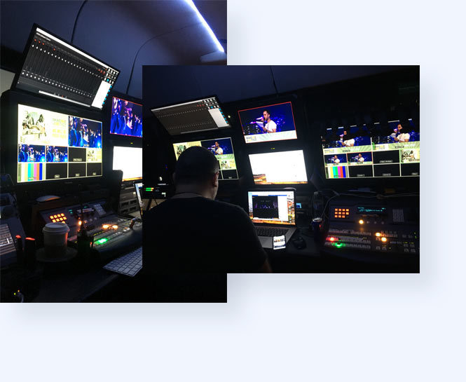 Inside the production truck at Imagine Dragons live stream with donation features