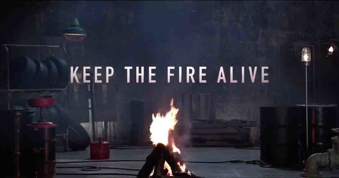 Keep The Fire Alive text over live stream