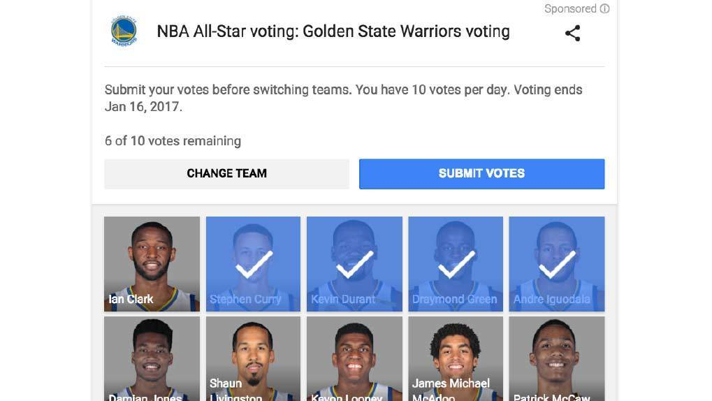 Screenshot of the Google Search voting