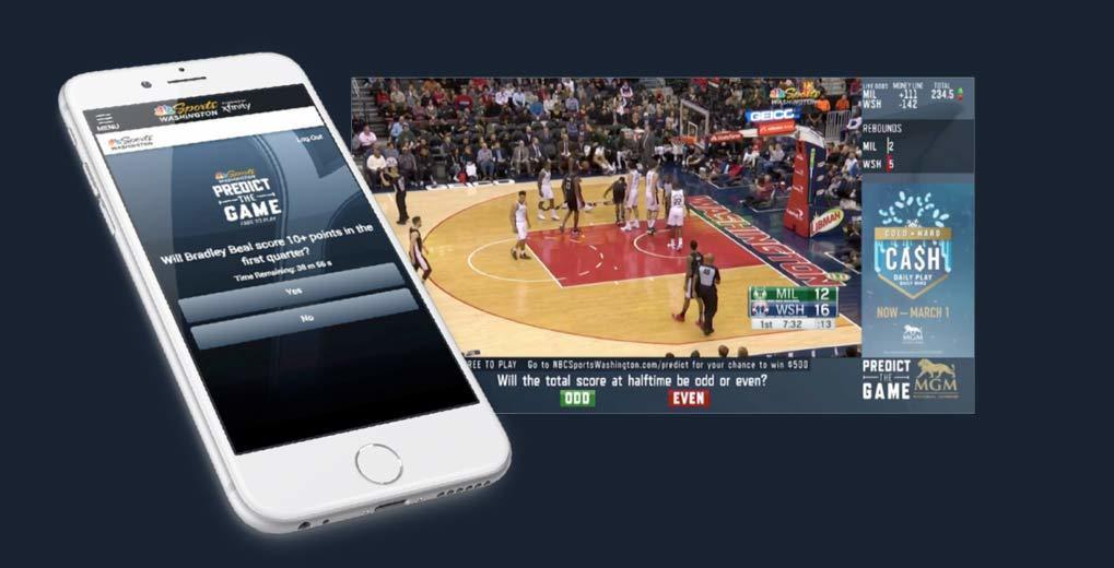 iPhone with Predict the Game on-screen;  in-app view of basketball game with questions and answers