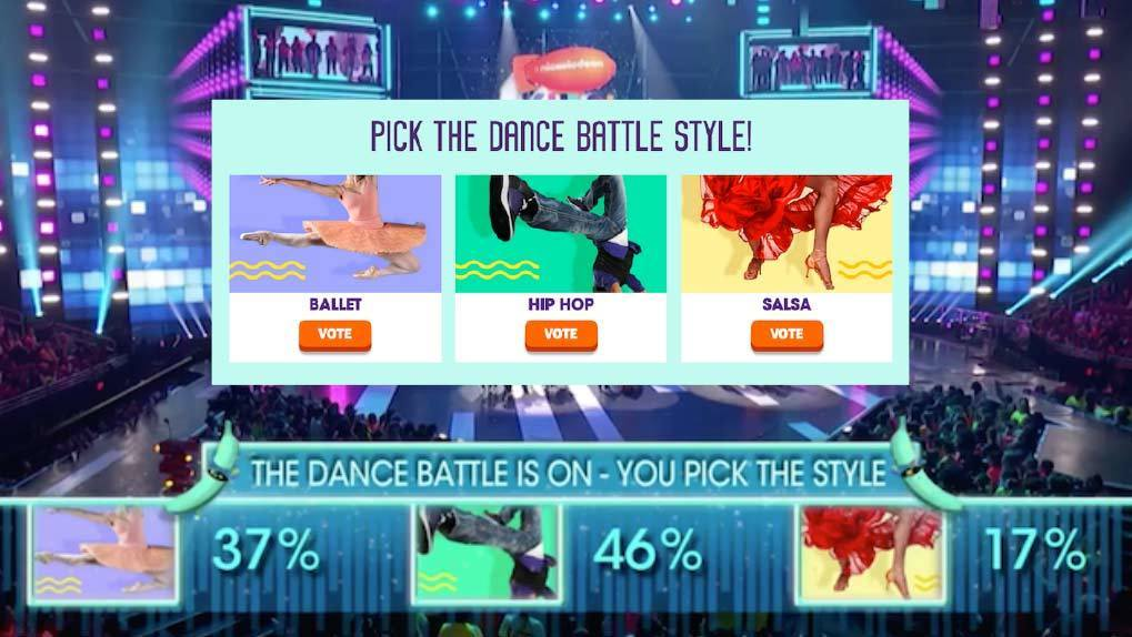 """Vote product used for question """"Pick The Dance Battle Style"""" with the in show screen showing results to air"""
