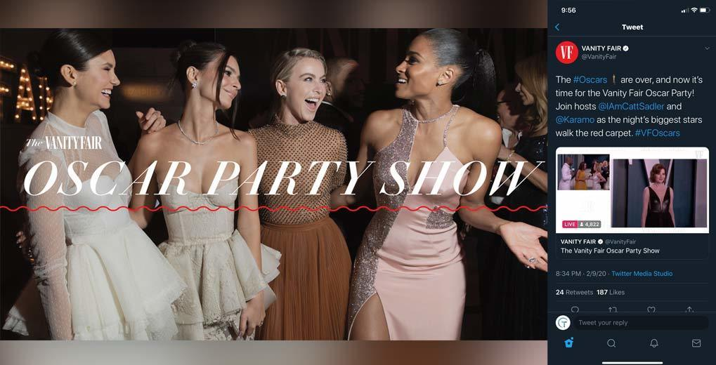 Vanity Fair Oscar Party and in phone stream of the red carpet live stream inside Twitter