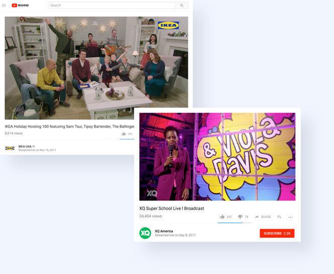Screenshot of YouTube Studio's ran by Team Telescope including Ikea's live stream and Super School XQ