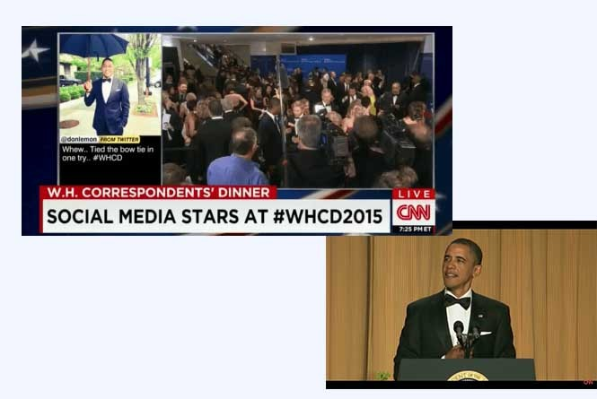 Broadcast of White House Correspondents Dinner with graphic showing hashtag and Barack Obama at podium