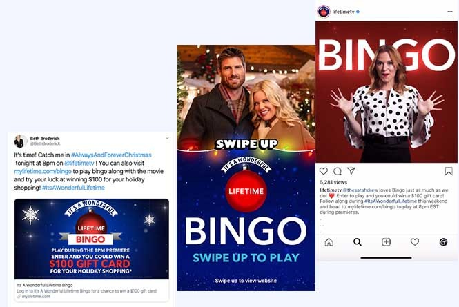Social CTAs on Instagram and Facebook to play the Bingo game