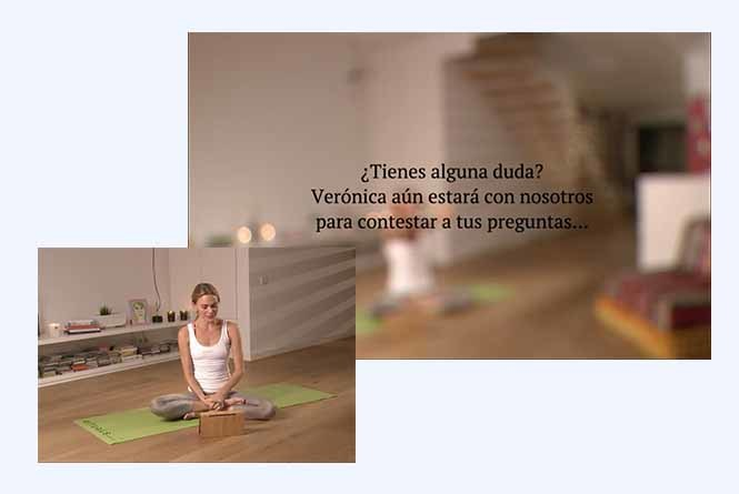 Overlay graphic with questions and actress sitting on yoga mat