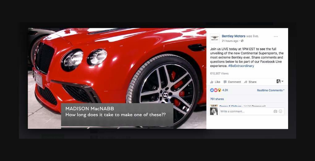 Image of Bentley car in Facebook live stream with question overlaid from at home viewer