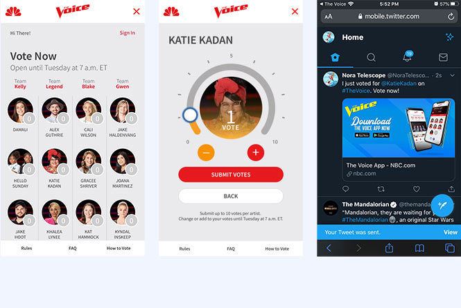 Mobile view of The Voice voting pages: landing page, vote selection, Twitter vote share