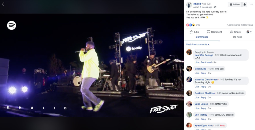 Facebook Live stream screenshot with Khalid performing on stage